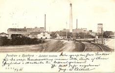 Pozdrav zKaznějova - lučební továrna vroce 1905